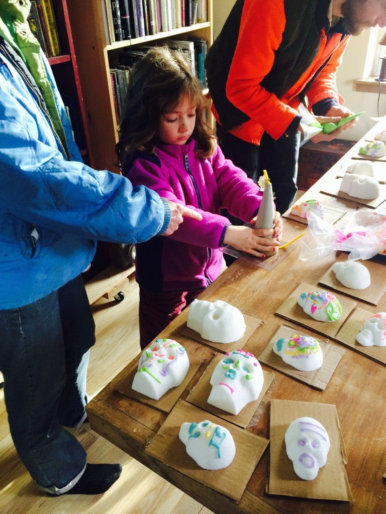 decorating sugar skulls